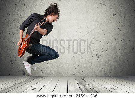 Play man playing music guitar guitarist fun