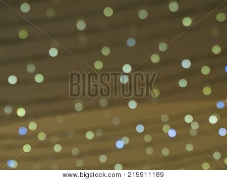 Defocused Christmas Lights Golden And Blue Bokeh Lights Circles On Beige Gold Background Abstract Ce