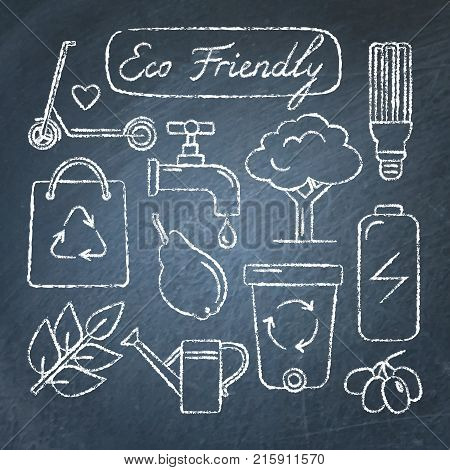 Collection of ecology icons in sketch style on chalkboard. Eco Friendly lettering. Hand drawn ecological symbols.