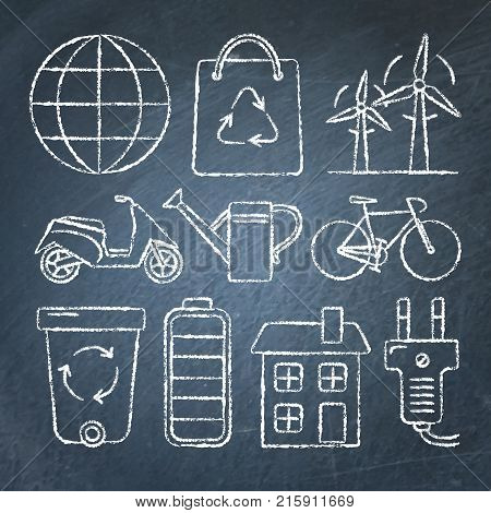 Collection of ecology icons in sketch style on chalkboard. Hand drawn ecological symbols.