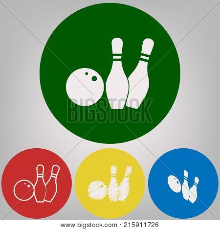 Bowling sign illustration. Vector. 4 white styles of icon at 4 colored circles on light gray background.