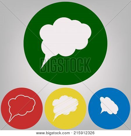 Speach bubble sign illustration. Vector. 4 white styles of icon at 4 colored circles on light gray background.