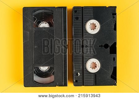 Used VHS (video home system) video casette tape retro technology