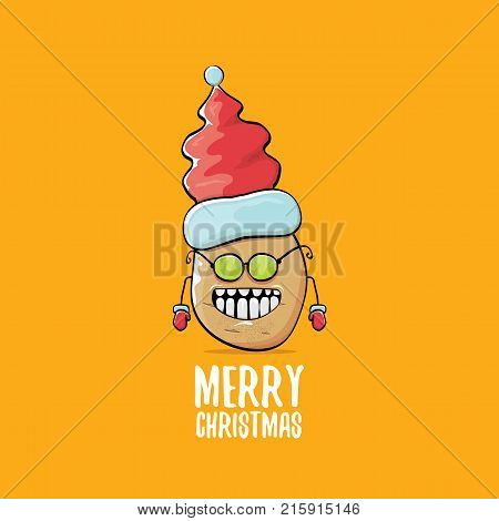 vector funky comic cartoon cute brown smiling santa claus potato with red santa hat and calligraphic merry christmas text isolated on orange background. vegetable funky christmas character