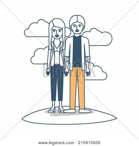 couple in color sections silhouette scene outdoor and her with blouse and jacket and pants and heel shoes with layered hair and him with shirt and jacket and pants and shoes with middle part hairstyle vector illustration