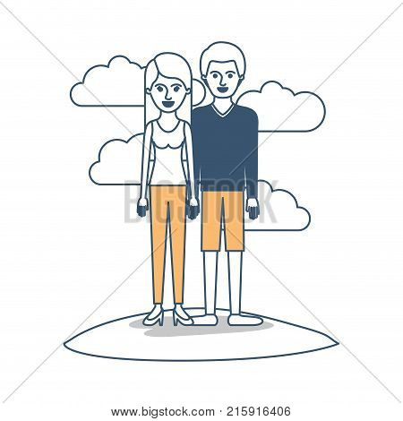 couple in color sections silhouette scene outdoor and her with t-shirt sleeveless and pants and heel shoes with long straight hair and him with sweater and short pants and shoes with short hair vector illustration
