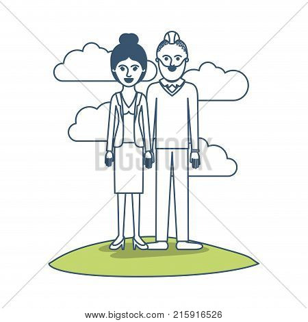 couple in color sections silhouette scene outdoor and her with blouse and jacket and skirt and heel shoes with collected hair and him with beard and sweater and pants and shoes with taper fade haircut vector illustration