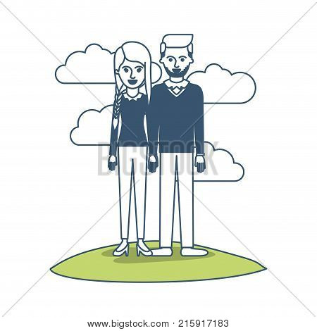 couple in color sections silhouette scene outdoor and her with blouse long sleeve and pants and heel shoes with braid and fringe hairstyle and him stubble beard and sweater and pants and shoes with side parted hairstyle vector illustration