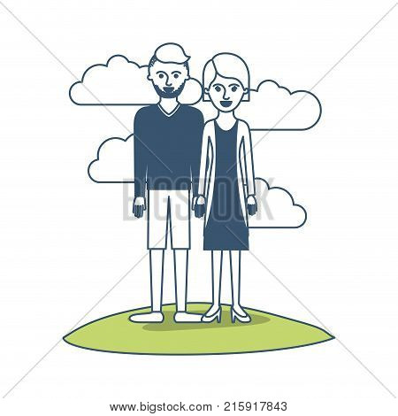 couple in color sections silhouette scene outdoor and him with t-shirt long sleeve and short pants and shoes with high fade haircut and stubble beard and her with blouse and jacket and skirt and heel shoes with short hair