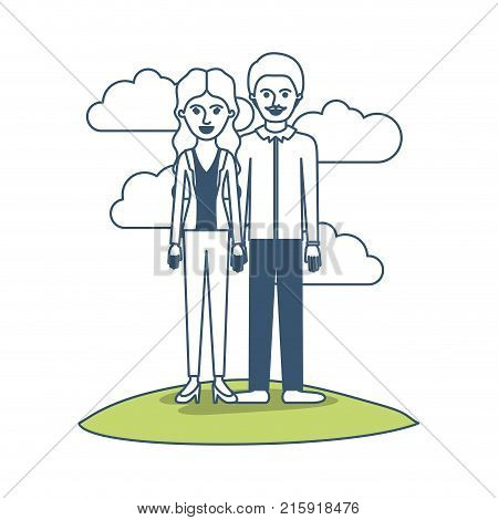 couple in color sections silhouette scene outdoor and her with blouse and jacket and pants and heel shoes with wavy long hair and him with shirt and pants and shoes with short hair and moustache vector illustration