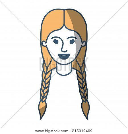 female face with braided hair in color sections silhouette vector illustration