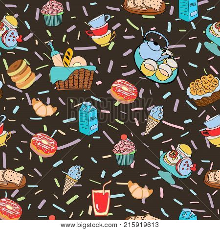 Pattern with funny cartoon food. Hand-drawn cartoon background with food and drinks elements breakfast ingredients and snacks for breakfast Different kind of food and dessert