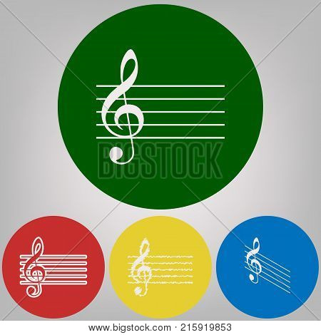 Music violin clef sign. G-clef. Vector. 4 white styles of icon at 4 colored circles on light gray background.