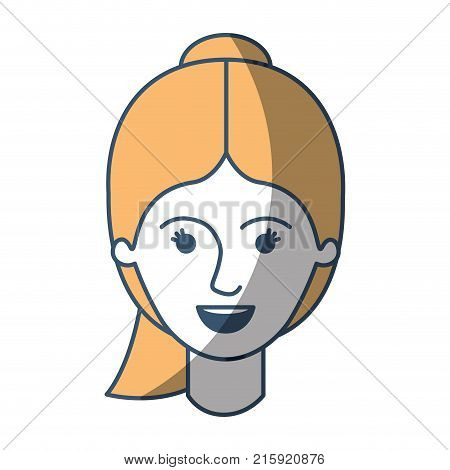 female face with ponytail hairstyle in color sections silhouette vector illustration poster