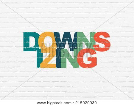 Finance concept: Painted multicolor text Downsizing on White Brick wall background