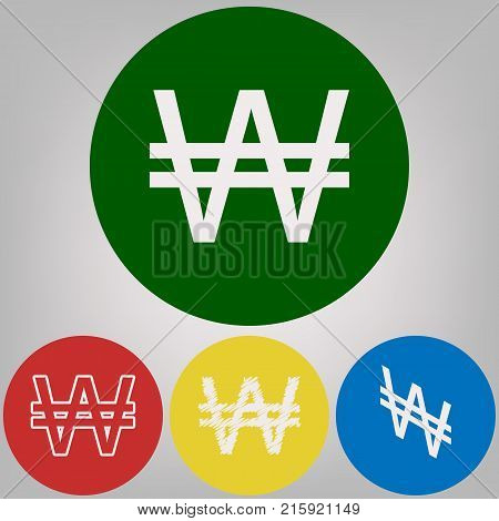 Won sign. Vector. 4 white styles of icon at 4 colored circles on light gray background.