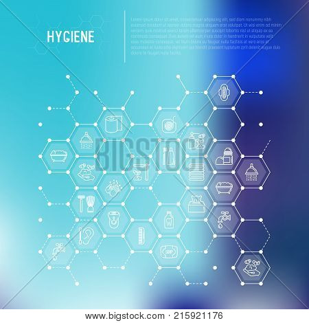 Hygiene concept in honeycombs with thin line icons: hand soap, shower, bathtub, toothpaste, razor, shaving brush, sanitary napkin, comb, ball deodorant, mouth rinse. Vector illustration for web page. poster
