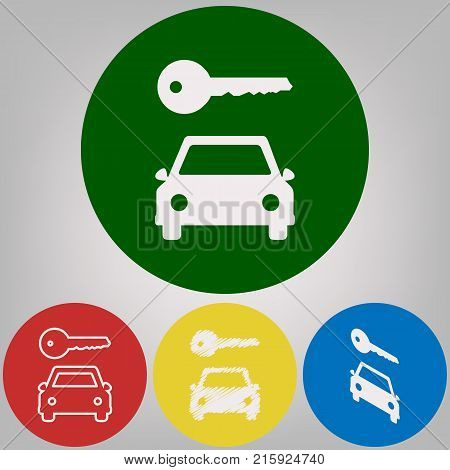 Car key simplistic sign. Vector. 4 white styles of icon at 4 colored circles on light gray background.