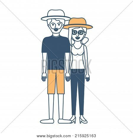 couple in color sections silhouette and both with hat and him with beard with t-shirt and short pants and shoes and her with glasses t-shirt sleeveless and pants and heel shoes with collected hair and fringe vector illustration
