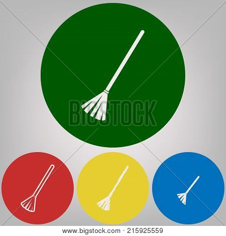 Sweeping broom sign. Vector. 4 white styles of icon at 4 colored circles on light gray background.