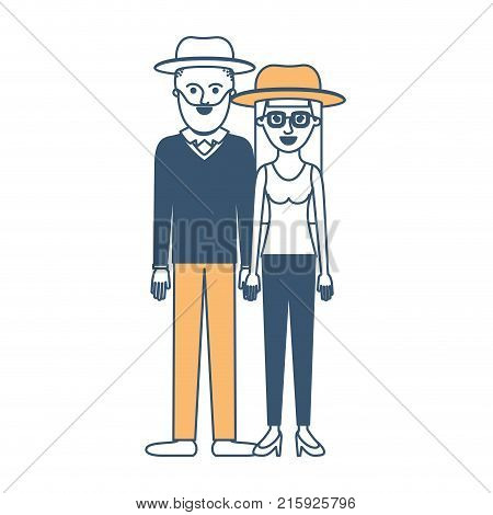 couple in color sections silhouette and both with hat and him with beard and sweater and pants and shoes and her with glasses t-shirt sleeveless and pants and heel shoes with long straight hair vector illustration