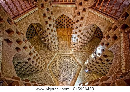 MEYBOD, IRAN - MAY 6, 2015: Interior of the traditional pigeon tower, Yazd province in Iran.