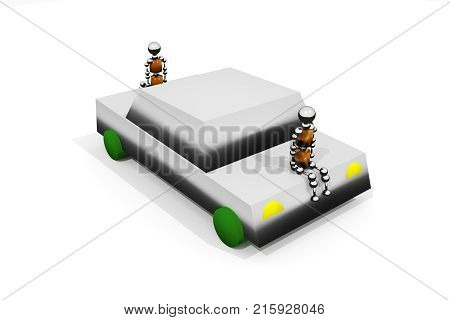 An anthropoid robots is sitting on the car. 3D rendering.