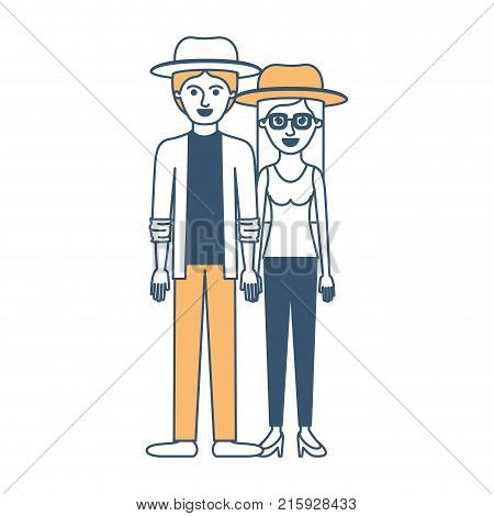 couple in color sections silhouette and both with hat and pants and him with shirt and jacket and pants and shoes and her with blouse and heel shoes with long straight hair vector illustration