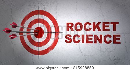 Success Science concept: arrows hitting the center of target, Red Rocket Science on wall background, 3D rendering