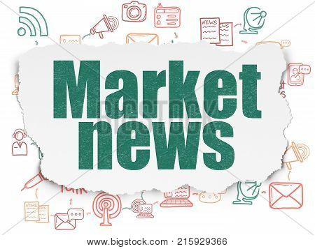 News concept: Painted green text Market News on Torn Paper background with Scheme Of Hand Drawn News Icons
