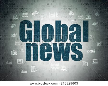 News concept: Painted blue text Global News on Digital Data Paper background with  Hand Drawn News Icons