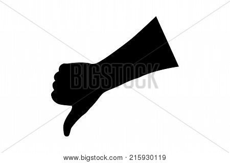 Hand - thumbs down - vector illustration - black and white