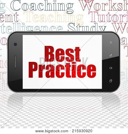 Studying concept: Smartphone with  red text Best Practice on display,  Tag Cloud background, 3D rendering