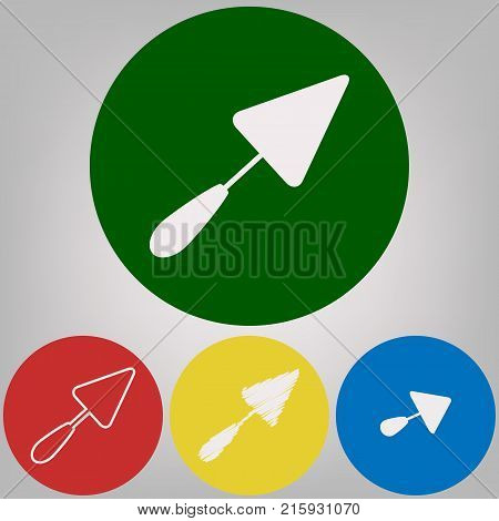 Trowel sign. Vector. 4 white styles of icon at 4 colored circles on light gray background.
