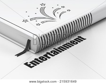 Entertainment, concept: closed book with Black Fireworks icon and text Entertainment on floor, white background, 3D rendering