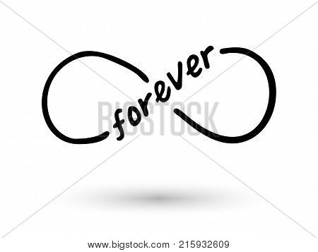 Infinity symbol and infinity word hand drawn with ink brush. Thin line scribble icon. Modern doodle grunge outline. Endless, life concept. Graphic design element for card, tattoo. Vector illustration