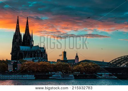 The sunset sky over Domsky cathedral in Cologne