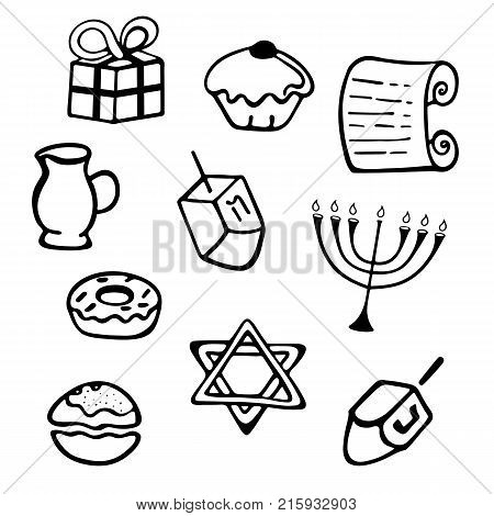 Hanukkah. A set of traditional attributes of the menorah dreidel candles olive oil Torah donutsin a doodle style
