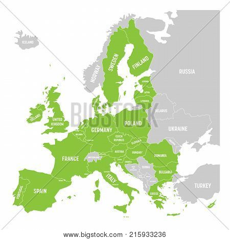 Political map of Europe with green highlighted 28 European Union, EU, member states. Simple flat vector illustration.