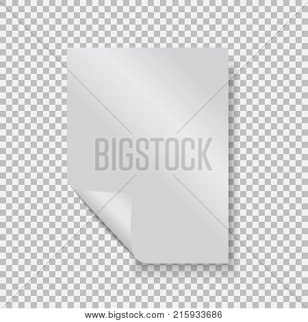 Empty paper blank sheet A4 with curl corner. Vector element for advertising and promotional message. Isolated vector illustration on a transparent background. For your design and business.