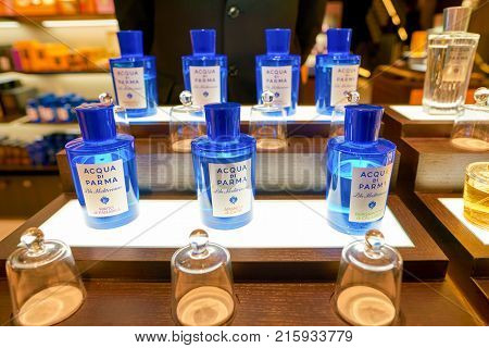 ROME, ITALY - CIRCA NOVEMBER, 2017: bottles of Acqua di Parma fragrance sit on display at a second flagship store of Rinascente in Rome.