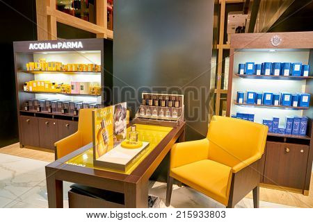 ROME, ITALY - CIRCA NOVEMBER, 2017: Acqua di Parma products sit on display at a second flagship store of Rinascente in Rome.