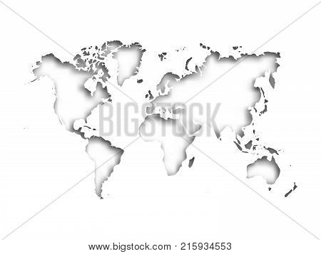 Map of World cut into paper with inner shadow isolated on grey background. Vector illustration with 3D effect.