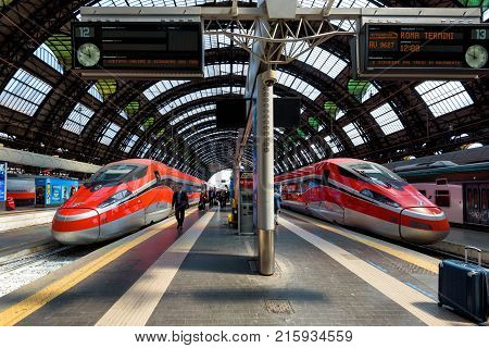 Milan, Italy - May 17, 2017: Modern high-speed trains at the Milan Central Station.