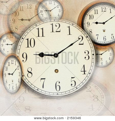 Grunge Photo Collage With Clocks