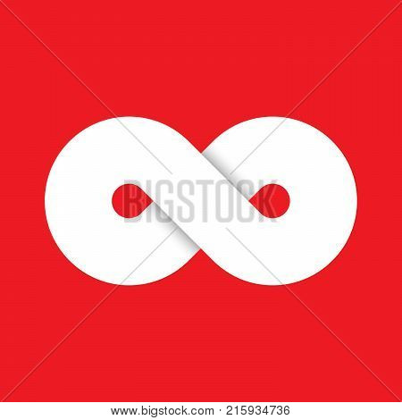 Infinity symbol icon. Representing the concept of infinite, limitless and endless things. Simple white vector design element on red background.