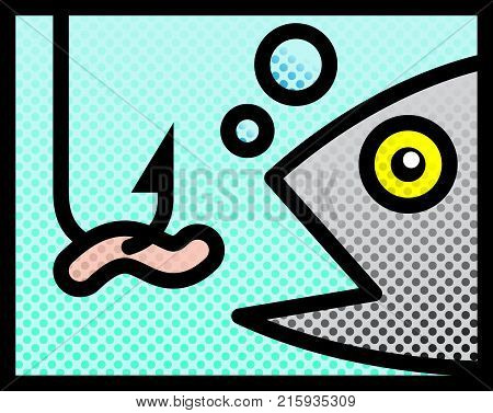Fish And Bait. Vector Illustration Of A Fish Attempting To Catch The Worm Bait.