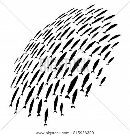Silhouettes of groups of sea fishes. Colony of small fish.