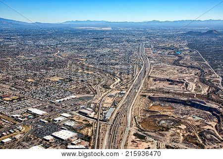 Over Interstate 10 in Tucson Arizona looking to the southeast towards downtown and airports