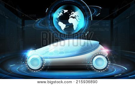transport and future technology - futuristic concept car with earth globe hologram over black background
